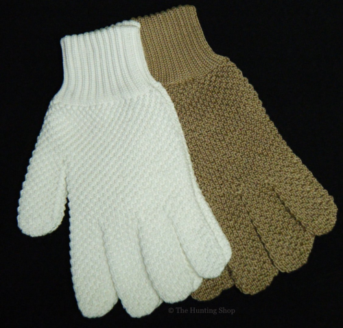 Knitted Cotton Hunting Gloves. White or Beige