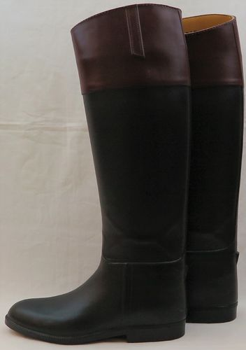 Size 5, Long Black Aigle Boots with Mahogany Tops