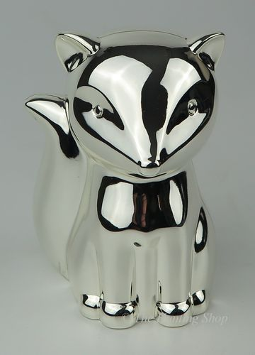 Silver Plated Foxy Money Bank