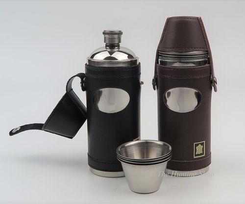 Leather Bound Stainless Steel Flasks & Cups