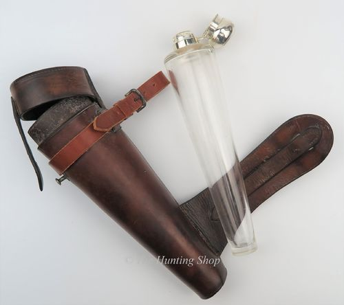 Large Conical Glass Flask & Leather Case